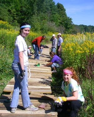 volunteers build boardwalk