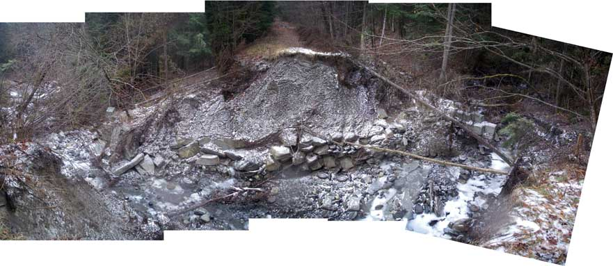 winter view of washout