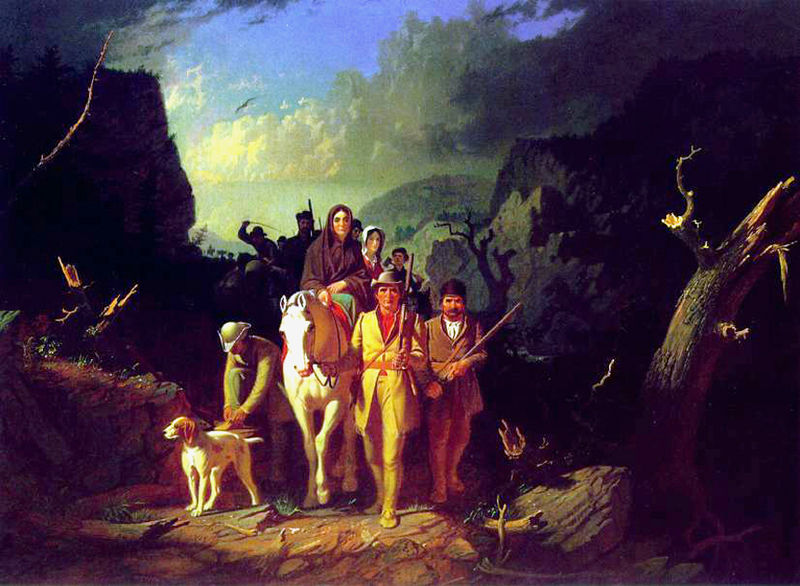 painting of Daniel Boone leading settlers